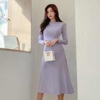 Dress Autumn 2020 lilac colour S,M,L,XL Mid length dress singleton  Long sleeves commute Crew neck High waist Solid color Socket routine Others 25-29 years old Type A Korean version 51% (inclusive) - 70% (inclusive) other genuine leather