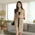Dress Autumn of 2018 Apricot S,M,L,XL Mid length dress singleton  three quarter sleeve commute tailored collar High waist Solid color zipper Pencil skirt Others 18-24 years old Korean version Pocket, panel, zipper