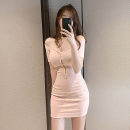 Dress Summer 2020 Pink S,M,L,XL Short skirt singleton  Short sleeve commute One word collar High waist Solid color Socket One pace skirt routine 18-24 years old Korean version Open back, thread, button