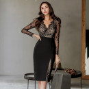 Dress Winter of 2019 black S,M,L,XL Mid length dress singleton  Long sleeves commute V-neck High waist Solid color zipper Pencil skirt Others 18-24 years old Korean version Stitching, zipper, lace