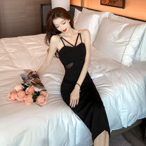 Dress Summer 2021 black S,M,L Mid length dress singleton  Sleeveless commute V-neck High waist Solid color zipper Ruffle Skirt routine camisole 18-24 years old Korean version