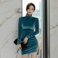 Dress Winter of 2019 Lake blue S,M,L,XL Short skirt singleton  Long sleeves commute High collar High waist Solid color Socket Pencil skirt Others 18-24 years old Korean version Fold, asymmetry, zipper