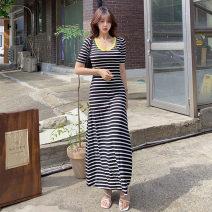 Dress Summer 2020 Stripe color S,M,L,XL longuette singleton  Short sleeve commute Crew neck High waist stripe Socket Big swing routine 18-24 years old Korean version