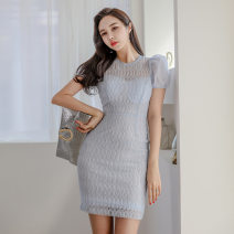 Dress Summer 2020 blue S,M,L,XL Short skirt singleton  Short sleeve commute Crew neck High waist Solid color zipper One pace skirt puff sleeve 18-24 years old Korean version