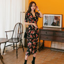 Dress Spring of 2019 Picture color S,M,L,XL Mid length dress singleton  Short sleeve commute V-neck High waist Decor zipper Pencil skirt puff sleeve Others 18-24 years old Korean version Zipper, print