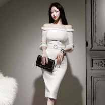 Dress Winter of 2019 white S,M,L,XL Mid length dress singleton  three quarter sleeve commute One word collar High waist Solid color zipper Pencil skirt Others 18-24 years old Korean version Open back, stitching, zipper