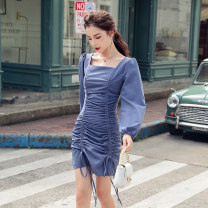 Dress Autumn 2020 blue S,M,L,XL Short skirt singleton  Long sleeves commute square neck High waist Solid color zipper One pace skirt other Others 25-29 years old Korean version Pleated, open back, pleated, zipper other