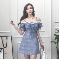 Dress Summer 2020 blue S,M,L,XL Short skirt singleton  Short sleeve commute One word collar High waist Solid color zipper A-line skirt bishop sleeve camisole 18-24 years old Korean version Pleated, open back, pleated, zipper, lace