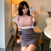Dress Spring of 2019 Picture color Average size Short skirt singleton  Long sleeves commute Crew neck High waist Solid color Socket Pencil skirt Others 18-24 years old Korean version thread