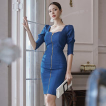 Dress Winter 2020 blue S,M,L,XL Middle-skirt singleton  three quarter sleeve commute square neck High waist Solid color zipper One pace skirt bishop sleeve Others 25-29 years old Korean version Open back, lace up, zipper
