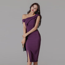 Dress Autumn of 2018 violet S,M,L,XL Mid length dress singleton  Sleeveless commute Slant collar middle-waisted Solid color zipper One pace skirt routine 25-29 years old Korean version Open back, zipper 51% (inclusive) - 70% (inclusive)