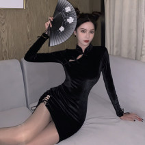 Dress Spring 2021 black S,M,L Short skirt singleton  Long sleeves commute stand collar High waist Solid color Three buttons One pace skirt routine 25-29 years old Type H Korean version Cut out, lace up, stitching