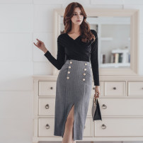 Fashion suit Winter of 2018 S,M,L,XL Black [single top], grey [single skirt] 18-25 years old