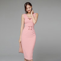 Dress Summer 2020 Pink S,M,L,XL Mid length dress singleton  Sleeveless commute V-neck High waist Solid color zipper One pace skirt routine 18-24 years old Korean version Bowknot, hollow out, stitching, zipper