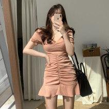 Dress Summer 2020 Light orange powder S,M,L,XL Short skirt singleton  Short sleeve commute V-neck High waist Solid color zipper Ruffle Skirt puff sleeve Others 18-24 years old Korean version Ruffles, folds, stitches, zippers
