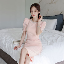 Dress Summer 2021 Pink S,M,L,XL Mid length dress singleton  Short sleeve commute Crew neck High waist Solid color zipper One pace skirt puff sleeve Others 18-24 years old Korean version Pleats, stitches, beads, zippers