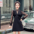 Dress Autumn 2020 black S,M,L,XL Short skirt singleton  Long sleeves commute stand collar High waist Solid color zipper A-line skirt puff sleeve Others 18-24 years old Type A Korean version Stitching, mesh, zipper