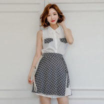 Dress Summer of 2019 Picture color [suit skirt] S,M,L,XL Short skirt Two piece set Sleeveless commute Polo collar High waist Decor Single breasted A-line skirt Others 18-24 years old Korean version Pocket, lace up, stitching, buttons, print