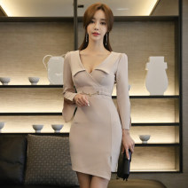 Dress Spring of 2019 Apricot S,M,L,XL Short skirt singleton  Long sleeves commute V-neck High waist Solid color zipper Pencil skirt Others 18-24 years old Korean version Stitching, three-dimensional decoration, asymmetry, zipper