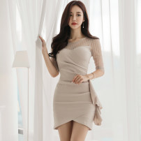 Dress Summer of 2018 Picture color S,M,L,XL Short skirt singleton  three quarter sleeve commute Crew neck High waist Solid color zipper Pencil skirt Others 18-24 years old Korean version Ruffle, open back, stitching, mesh, zipper