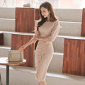 Dress Winter of 2019 Picture color S,M,L,XL Mid length dress singleton  three quarter sleeve commute One word collar High waist Solid color zipper Pencil skirt Others 18-24 years old Korean version Stitching, zipper, lace