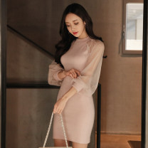 Dress Spring 2020 Pink S,M,L,XL Short skirt singleton  Long sleeves commute Crew neck High waist Solid color Socket Pencil skirt Others 18-24 years old Korean version Splicing, mesh