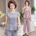Middle aged and old women's wear Summer 2021 Grey suit, purple suit, orange suit XL (90-110 kg recommended), 2XL (110-130 kg recommended), 3XL (130-145 kg recommended), 4XL (145-165 kg recommended) fashion suit easy Two piece set Solid color 40-49 years old Socket thin Crew neck routine 619#