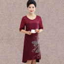 Middle aged and old women's wear Summer of 2018 4XL XL XXL XXXL Burgundy Navy ethnic style Dress Self cultivation singleton  other 40-49 years old Socket thin Crew neck Medium length routine Polyester others Medium length