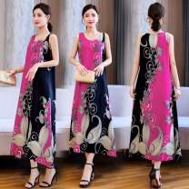 Dress Summer 2021 1, 2, 3, 4, 5, 6, 7, 8, 9, 10, 11, 12, 13, 14, 15, 16, 17, 18, 19, 20 XL [recommended 95-115 kg], 2XL [recommended 115-130 kg], 3XL [recommended 130-145 kg], 4XL [recommended 145-160 kg], 5XL [recommended 160-175 kg] Mid length dress Sleeveless commute Crew neck Loose waist camisole