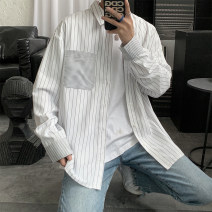 shirt Youth fashion Others M. L, s, XL, 2XL, 3XL, XS plus small, 4XL, 5XL White, black routine Pointed collar (regular) Long sleeves easy Other leisure summer teenagers Polyester 100% 2021