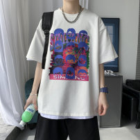 T-shirt Youth fashion White, black, blue, pink routine S. M, l, XL, 2XL, XS plus small Others Short sleeve Crew neck easy daily summer Cotton 100% teenagers routine tide other 2021 Geometric pattern printing other Geometric pattern No iron treatment Non brand