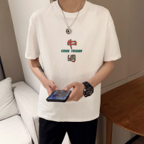 T-shirt Youth fashion Black, white routine S. M, l, XL, 2XL, 3XL, XS plus small Others Short sleeve Crew neck easy daily summer Cotton 95% polyurethane elastic fiber (spandex) 5% youth routine Basic public Cotton wool 2021 other printing cotton other No iron treatment Designer brand