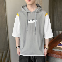 T-shirt Youth fashion Yellow, white, gray routine M. L, XL, 2XL, 3XL, 4XL, XS plus small, s Others Short sleeve Hood easy Other leisure summer teenagers Off shoulder sleeve tide 2021 Cartoon animation printing cotton No iron treatment Domestic non famous brands More than 95%