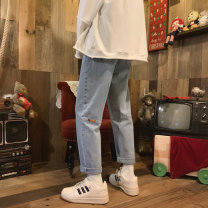 Jeans Youth fashion Others 27,28,29,30,31,32,33,34,26 plus small Dark grey, blue routine Regular denim Ninth pants Other leisure spring teenagers Medium low back Slim feet tide 2021 Little straight foot zipper Cotton polyester