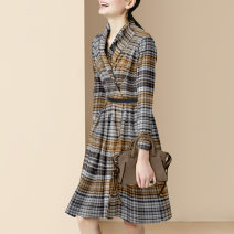 Dress Autumn 2020 Picture color small spot picture color pre-sale 25 days S M L XL Mid length dress singleton  Long sleeves street tailored collar middle-waisted stripe zipper A-line skirt routine Others 30-34 years old Type A Diffie Rieger Button DR20A0705 More than 95% other polyester fiber