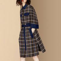 Dress Autumn 2020 Picture color small spot picture color pre-sale 25 days S M L XL Mid length dress singleton  elbow sleeve street other middle-waisted lattice Single breasted A-line skirt routine Others 30-34 years old Type A Diffie Rieger Button More than 95% other other Other 100%