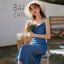 Dress Summer 2021 blue S,M,L longuette singleton  Sleeveless commute Dangling collar Solid color Socket other camisole 18-24 years old Type A Korean version backless
