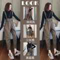 Women's large Spring 2021 Bottoming shirt + straps two suits [salt and sweet two piece / thin thin meat / early spring suit] Other oversize styles Two piece set commute easy moderate Socket Long sleeves Solid color Korean version Half high collar routine Three dimensional cutting routine DFRV-5896