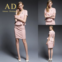 Professional dress suit XXL [Brooch belt], s [Brooch belt], m [Brooch belt], l [Brooch belt], XL [Brooch belt], XXXL [Brooch belt] Pink suit + skirt, black suit + skirt, white suit + skirt, black panties, black three piece suit, single suit [color note], single skirt [color note] Summer of 2019 AD