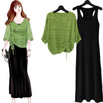 Wool knitwear Summer 2020 The average size is about 85-145 Jin Green top + long skirt, white top + long skirt, pink top + long skirt, yellow top + long skirt, single skirt, green top, white top, pink top, yellow top three quarter sleeve Two piece set Socket other 71% (inclusive) - 80% (inclusive)