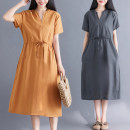 Dress Summer 2021 M,L,XL,2XL Mid length dress singleton  Short sleeve commute V-neck Loose waist Solid color Socket A-line skirt routine Others 25-29 years old Type A Other / other literature Pocket, lace up 51% (inclusive) - 70% (inclusive) other cotton