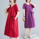Dress Summer 2020 Purple, red, navy M [95-120 kg], l [120-135 kg], XL [135-150 Jin], 2XL [150-170 Jin] Mid length dress singleton  Short sleeve commute V-neck Loose waist Solid color Socket A-line skirt routine Others Type A literature Bow, pocket, tie 71% (inclusive) - 80% (inclusive) other cotton