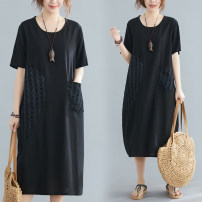 Dress Summer 2020 black L [100-120 Jin], XL [120-140 Jin], 2XL [140-160 Jin], 3XL [160-180 Jin] Mid length dress singleton  Short sleeve commute Crew neck Loose waist letter Socket other routine Others 30-34 years old Type A literature Pockets, stitching 51% (inclusive) - 70% (inclusive) other cotton