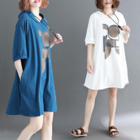 Women's large Summer of 2019 Off white, blue Dress singleton  commute easy thin Socket elbow sleeve Abstract pattern Hood Medium length cotton routine Other / other 25-29 years old pocket 96% and above