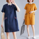Dress Summer 2021 Ginger, navy L,XL,2XL Mid length dress singleton  Short sleeve commute Polo collar Loose waist Solid color Socket other routine Others 25-29 years old Type A Other / other literature Pocket, button 81% (inclusive) - 90% (inclusive) hemp