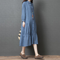 Dress Autumn of 2019 Blue lattice M [under 120 Jin], l [120-135 Jin], XL [135-150 Jin], 2XL [150-170 Jin] Mid length dress singleton  Long sleeves commute Polo collar Loose waist lattice Single breasted Big swing routine Others 35-39 years old Type A Other / other literature Pockets, panels, buttons