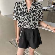 shirt Leopard top, black shorts (chain), leopard Top + black shorts (chain) S, M Summer 2020 other 81% (inclusive) - 90% (inclusive) Short sleeve street Short style (40cm < length ≤ 50cm) tailored collar Single row two buttons routine Leopard Print 18-24 years old High waist type chain Punk