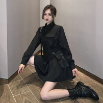 skirt Autumn 2020 S,M,L,XL Black shirt (for tie), pleated skirt (for belt and waistband), black shirt + pleated skirt (for belt and waistband + tie) Short skirt street High waist Pleated skirt Solid color Type A 18-24 years old 81% (inclusive) - 90% (inclusive) other other Punk
