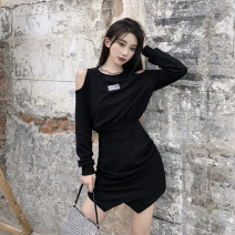 Dress Autumn 2020 Black dress, grey dress, white dress Average size Short skirt singleton  Long sleeves street Crew neck High waist Solid color A-line skirt routine Others 18-24 years old Type A Hollowing out 81% (inclusive) - 90% (inclusive) other other Europe and America