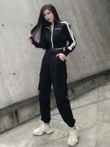 Casual suit Autumn 2020 Black jacket, black pants (belt), black jacket + black pants (belt) S,M,L,XL 18-25 years old 81% (inclusive) - 90% (inclusive)